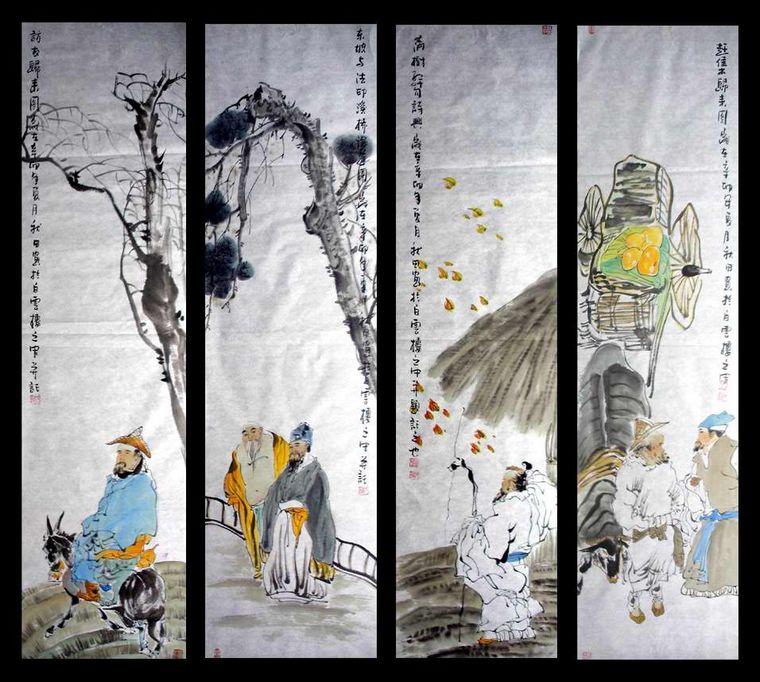 国画人物四条屏