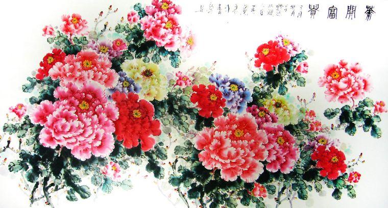 明代王允龄《牡丹白鹤图》,清代沈荣《玉兰牡丹图》,第一字画网收藏的