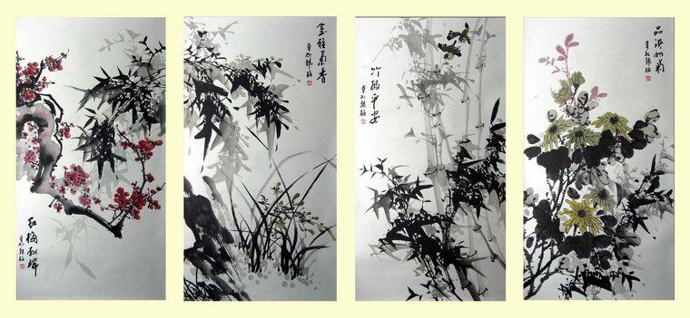 梅兰竹菊四条屏   国画   作品,数量只有唯一的一套,售完即