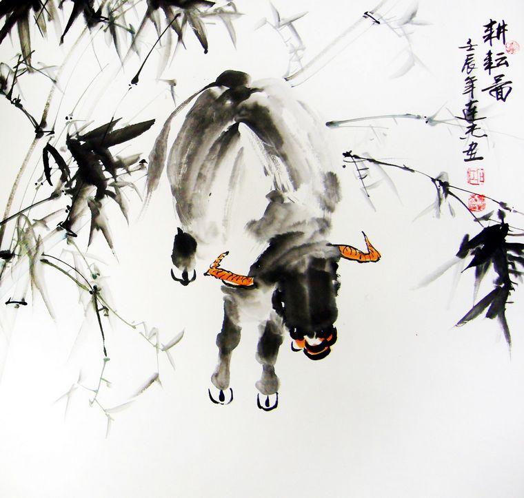 水墨画牛   低着头的牛水墨画