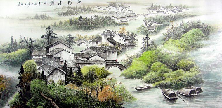 江南水乡山水画图片