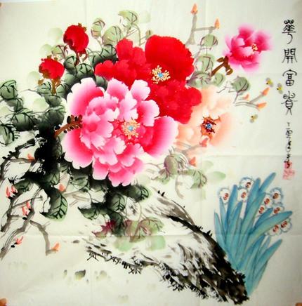 四尺斗方牡丹国画