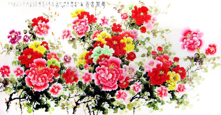 八尺牡丹国画花开富贵