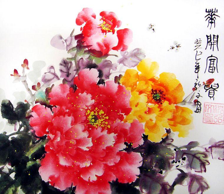 以写意的笔法将牡丹的花头表现到逼真而富有神采的效