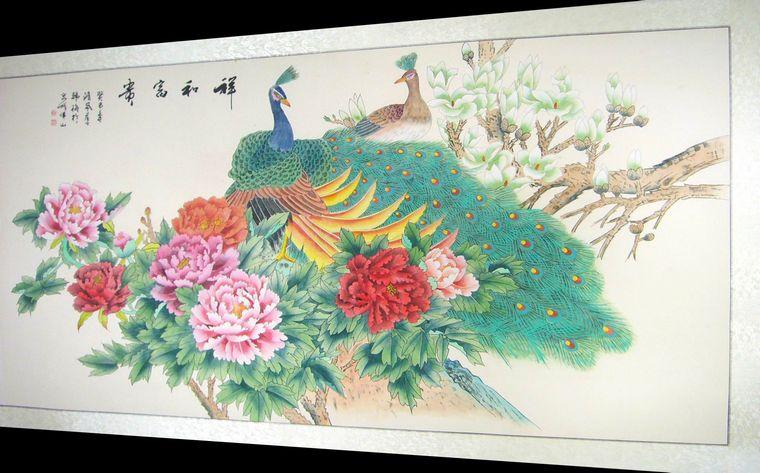 六尺工笔画孔雀牡丹