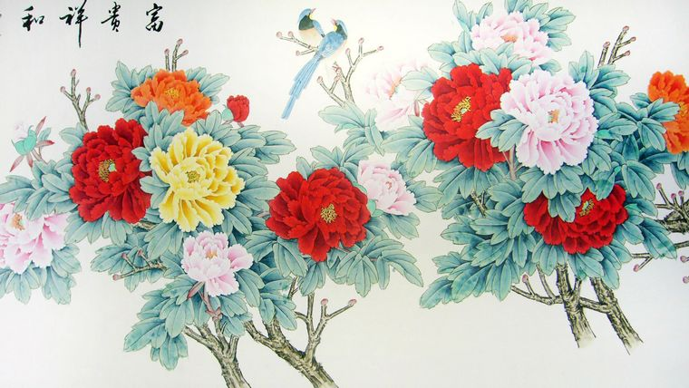 八尺工笔牡丹图,客厅挂的画