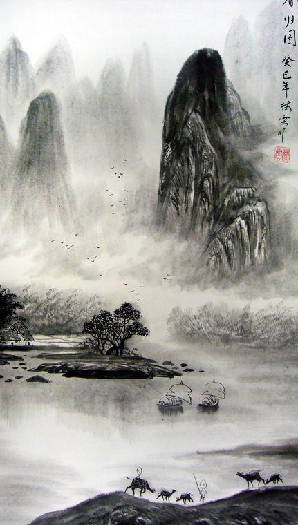 林云老师此幅三尺竖幅水墨山水裱-竖幅水墨山水画
