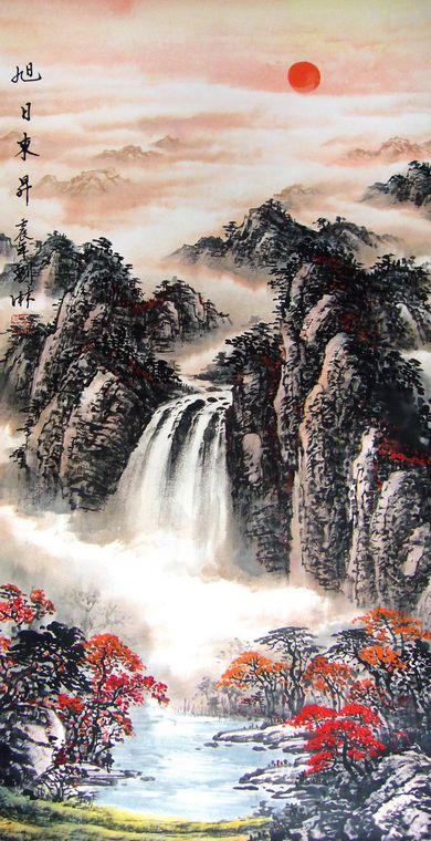 竖幅山水国画