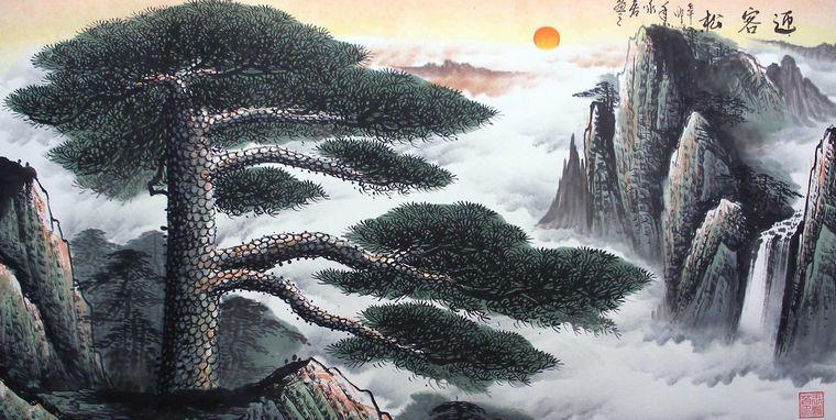 画的上方太阳正冉冉升起,又寓意着旭日东升,鸿运当头,整幅作品气势