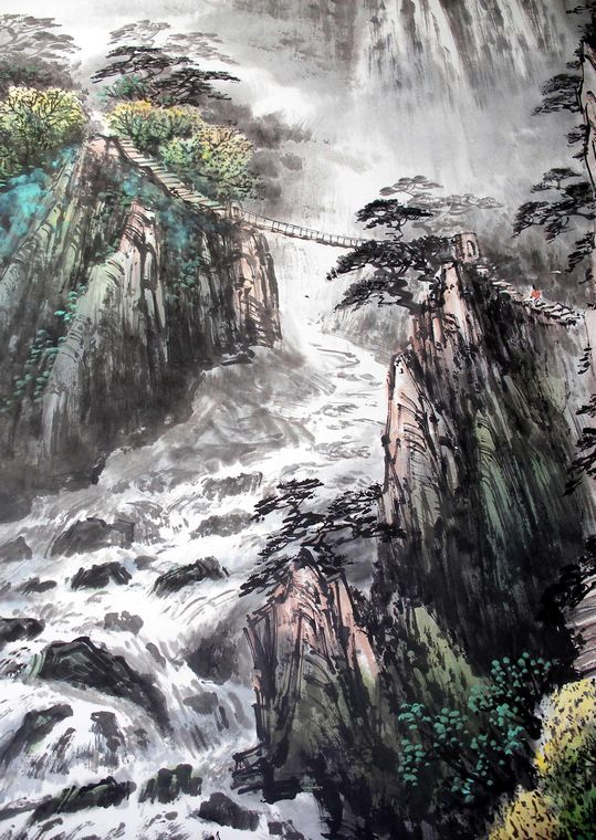 四尺竖幅获奖山水画