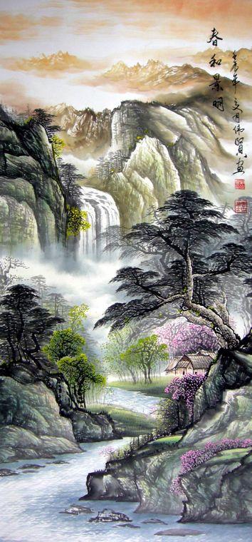 是一幅风景秀美的四尺竖幅山水作品,作品意境生动,山水交汇,是幅颇具