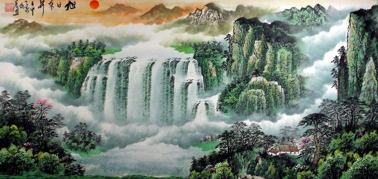 他的山水画作品笔墨清逸,画风新颖,经常将古典风格引景入画,大量的