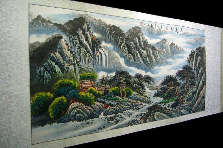 山水手绘彩铅图片