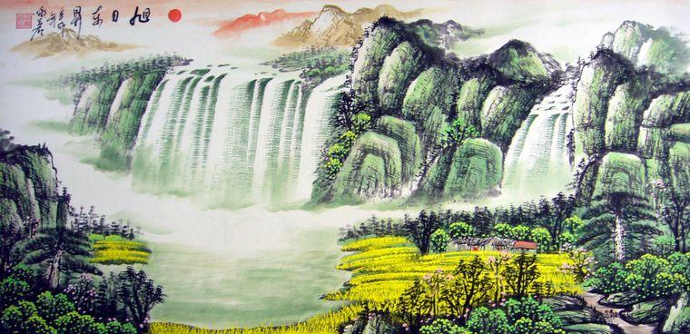 四尺横幅瀑布山水画,山水画图片图片