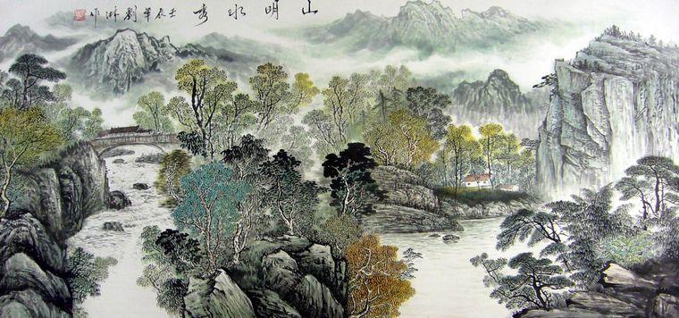 四尺山水画,山水画图片,中国山水画 - 第一字画网 Powered by Hishop