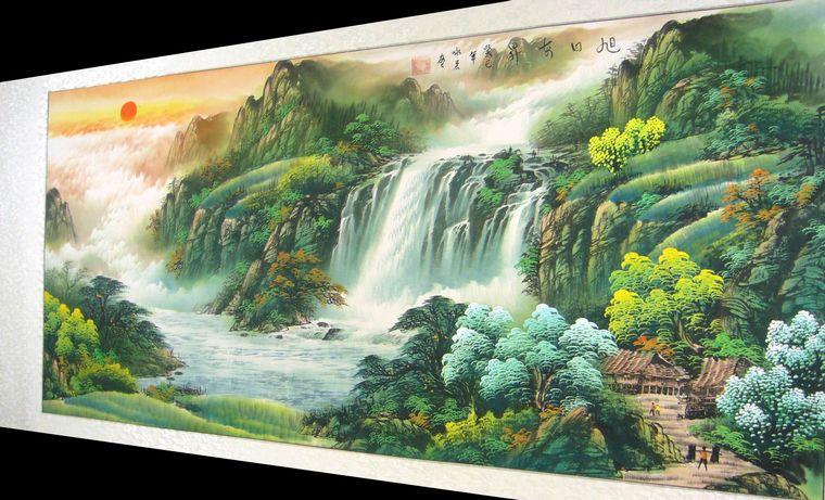 四尺横幅瀑布山水画