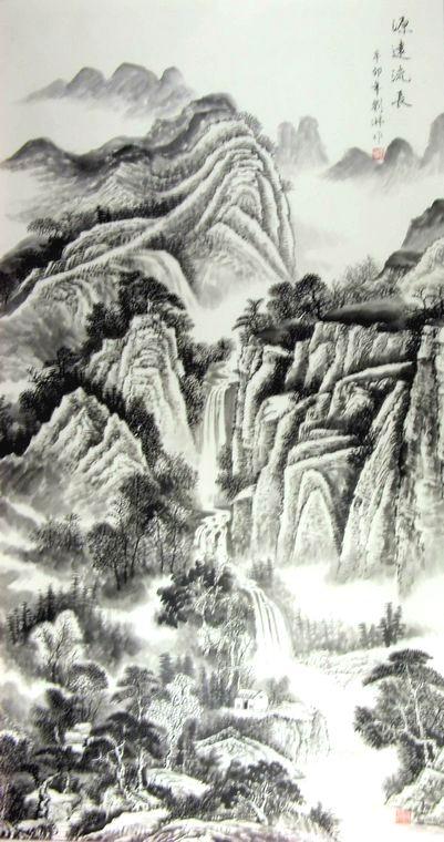 六尺竖幅国画山水