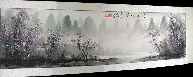 客厅风景山水画,咏茗老师这幅作品适合挂办公室