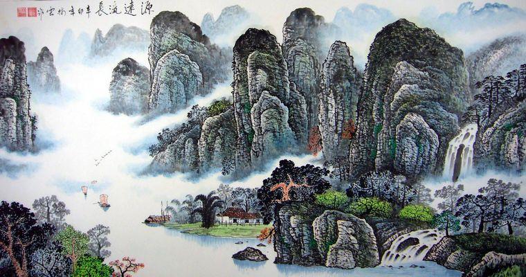 国画桂林山水画