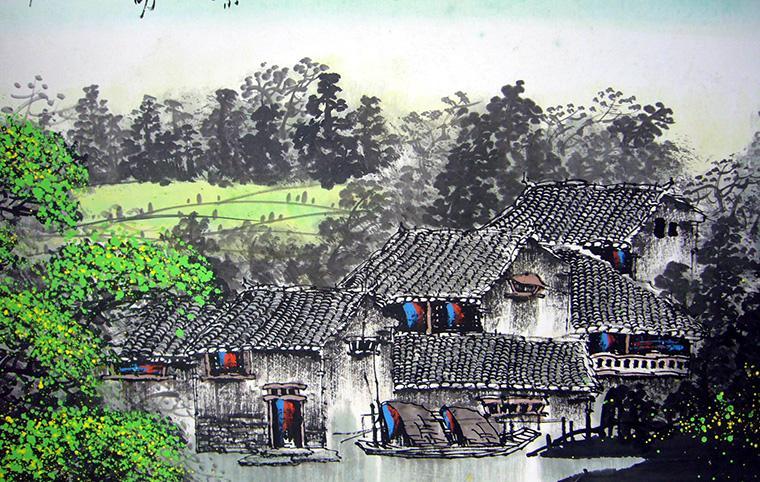第一字画网的 水乡风景画,六尺对开江南水乡风景画裱完后长度近2.