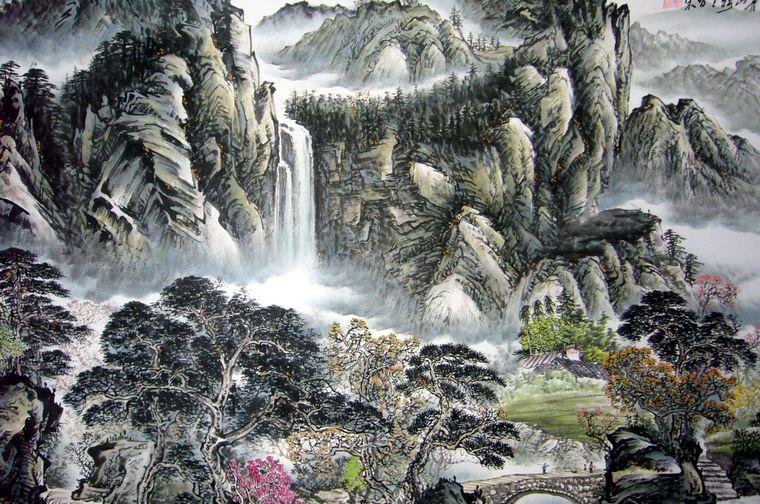 六尺名家山水画图片