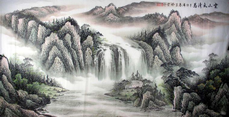大八尺手绘山水画