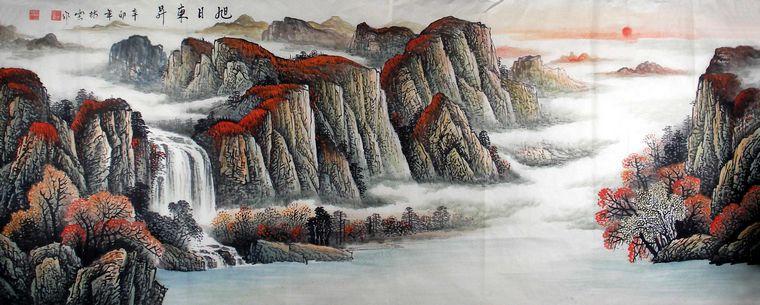 中国写意山水画 - 第一字画网; 八尺水墨山水画作品 - 第一字画网