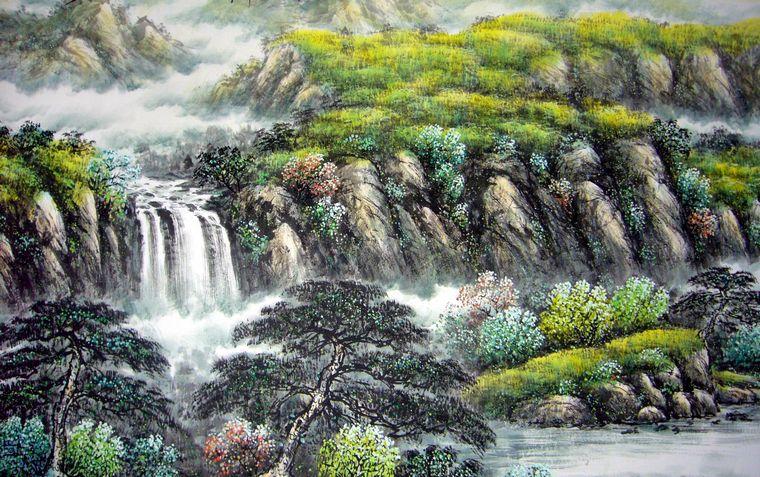 壁纸 风景 国画 旅游 瀑布 山水 桌面 760_477