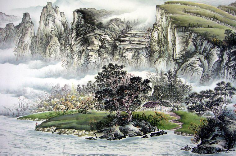 名家山水画作品图片