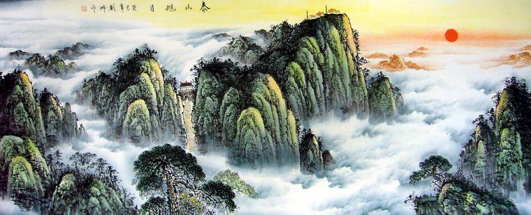 泰山风景黑白木刻版画图片