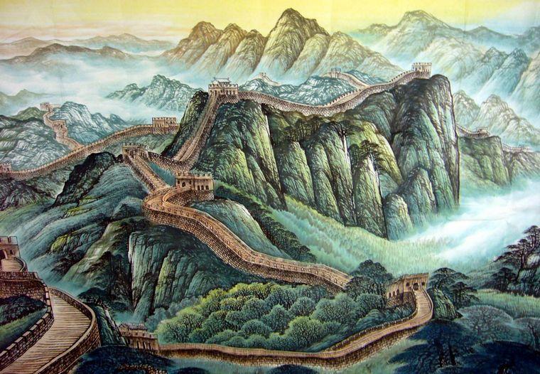 国画万里长城 - 第一字画网