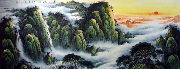 山水画泰山图片