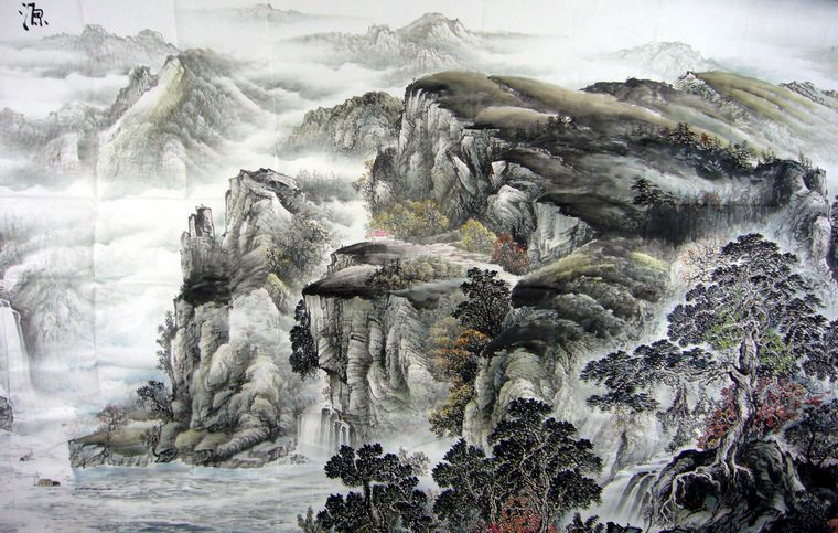 松树的画法国画人物,树木画法学画写意山水上国画石头的画法刘松岩