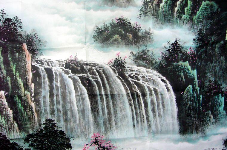 壁纸 风景 国画 旅游 瀑布 山水 桌面 760_504