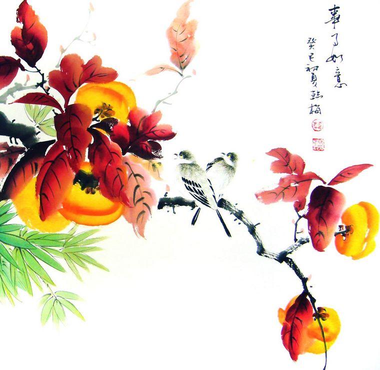 柿子画法 步骤 水墨