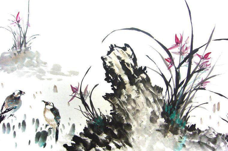 水墨国画兰花