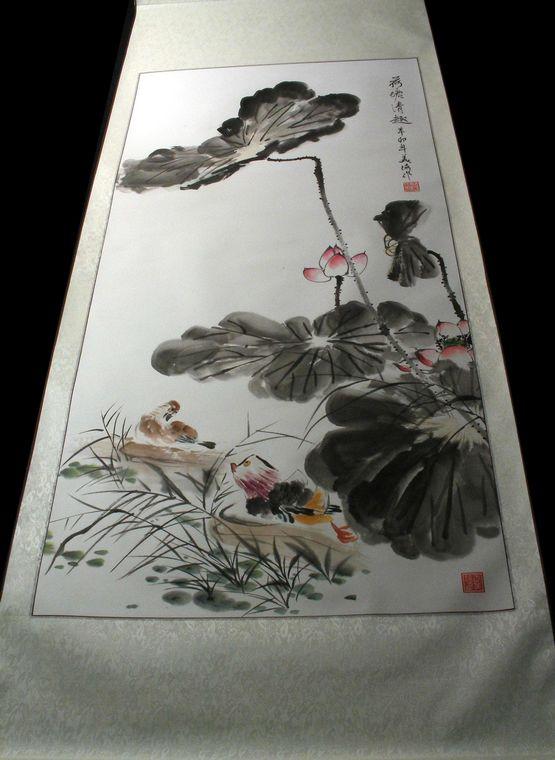 鸳鸯荷花彩铅作品绘画步骤