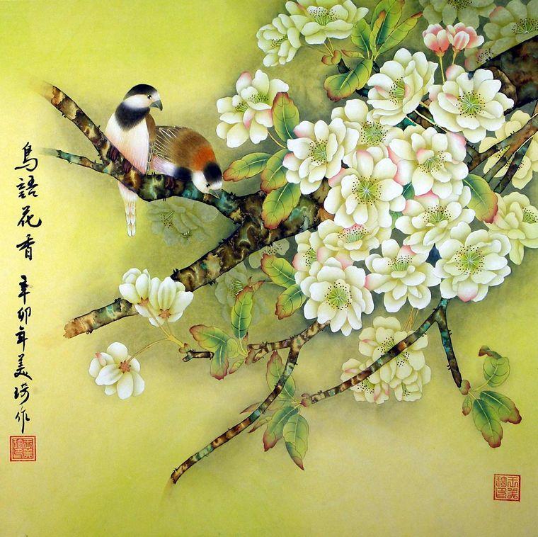 工笔画鸟语花香;; 原创:清晨闻鸟语/枫叶 - 枫叶的日志 - 网易博客