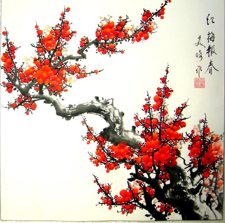 四尺斗方国画红梅