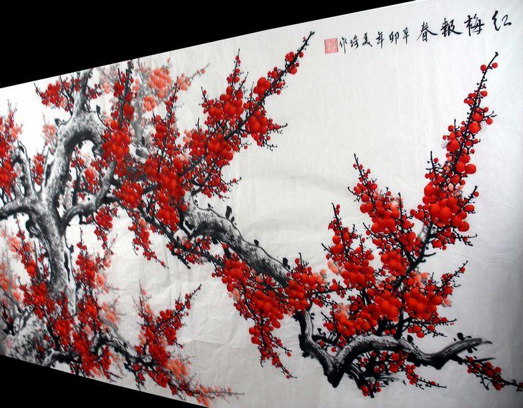 梅花的墙绘图案