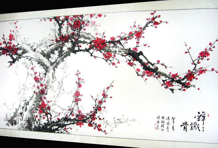 梅花水墨画背景大图;