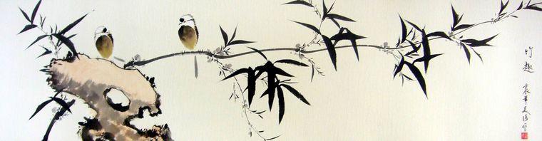 这幅写意花鸟画作品是美琦老师的花鸟佳作,装裱后长度达到1.