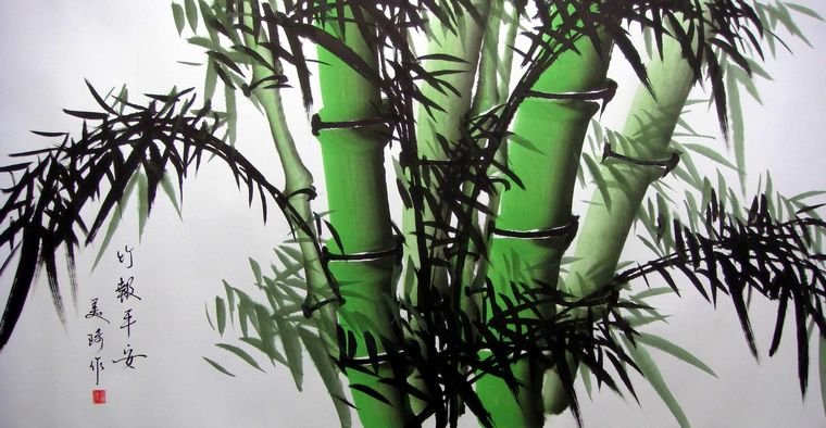 三尺国画竹子