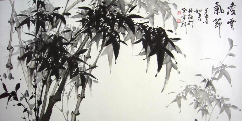 竹子的水墨画,国画竹子