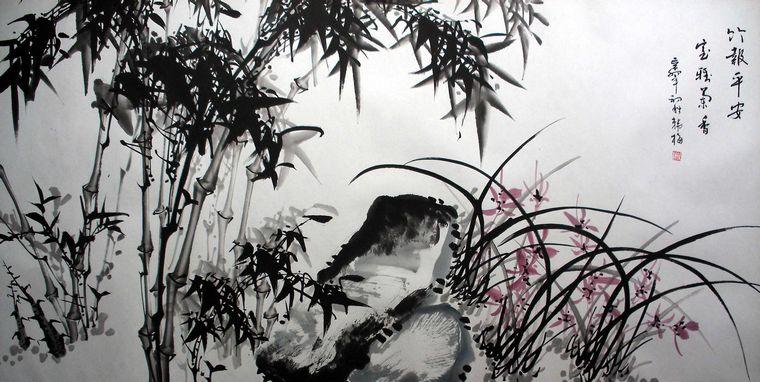 竹子梅花水墨画