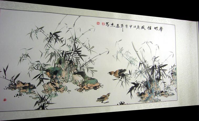 四尺竹子水墨画