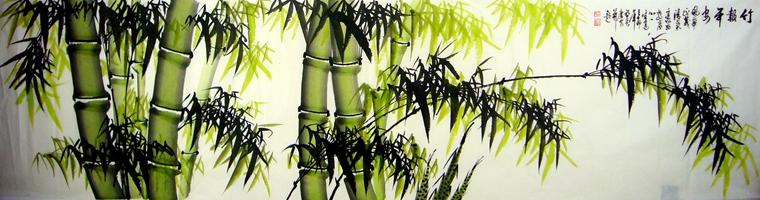 古风竹林彩铅手绘