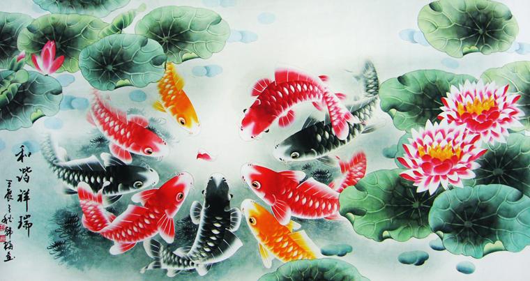 荷花,鱼画手绘