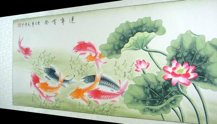 四尺手绘九鱼图