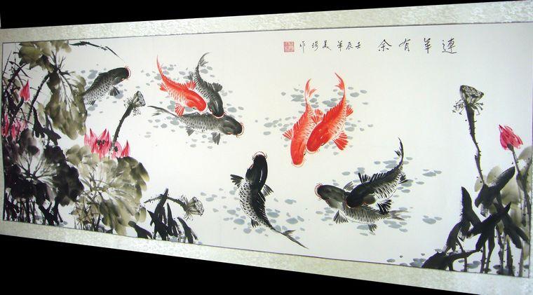 九鱼荷花国画 - 第一字画网